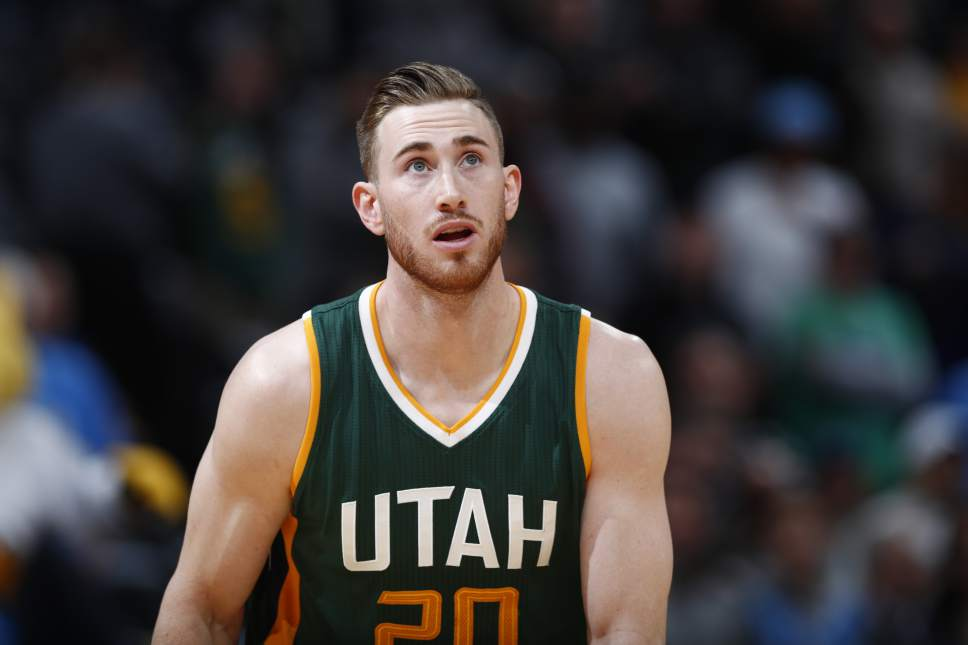 Utah Jazz forward Gordon Hayward (20) in the first half of an NBA basketball game Tuesday, Jan. 24, 2017, in Denver. (AP Photo/David Zalubowski)