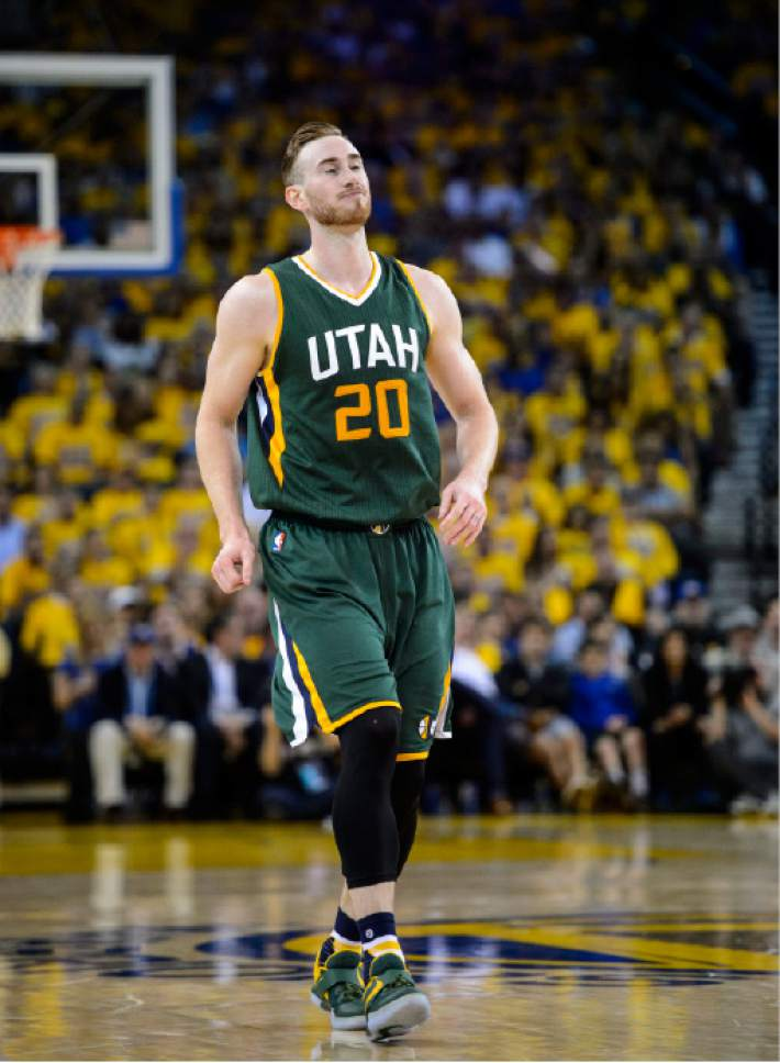Steve Griffin  |  The Salt Lake Tribune   Utah Jazz forward Gordon Hayward (20) grimaces and closes his eyes after he misses another open shot during NBA playoff game between the Utah Jazz and the Golden State Warriors at Oracle Arena in Oakland Tuesday May 2, 2017.