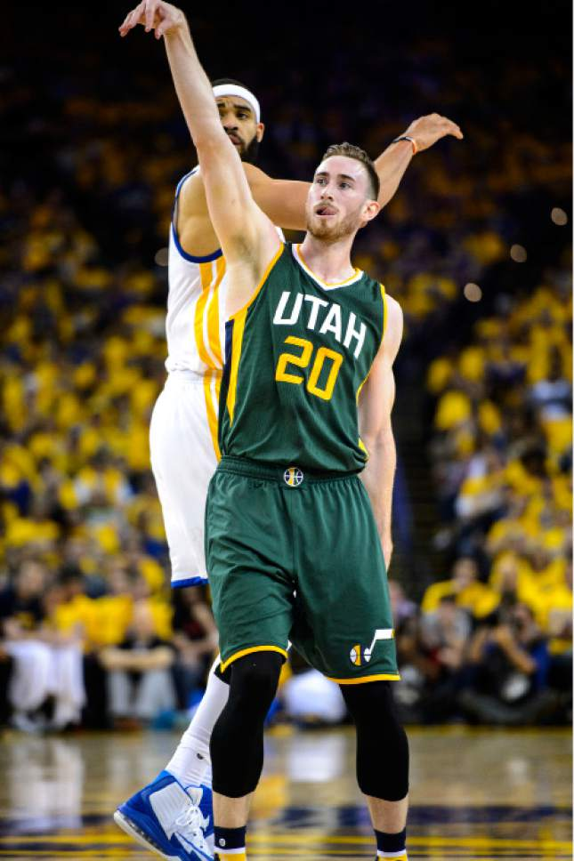 Steve Griffin  |  The Salt Lake Tribune Utah Jazz forward Gordon Hayward (20) follows through on a 3-pointer Tuesday during Game 1 in Oakland, Calif.