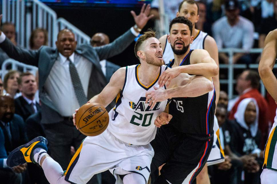 Chris Detrick  |  The Salt Lake Tribune LA Clippers guard Austin Rivers (25) guards Utah Jazz forward Gordon Hayward (20) during the game at Vivint Smart Home Arena Friday, April 28, 2017.