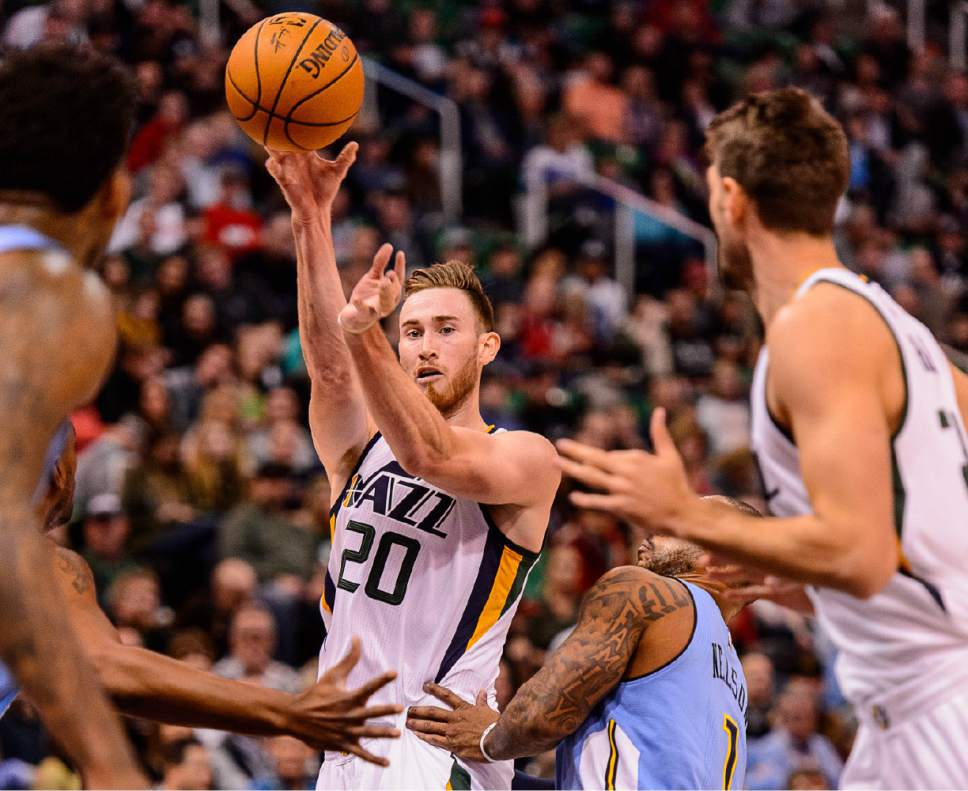 Trent Nelson  |  The Salt Lake Tribune Utah Jazz forward Gordon Hayward (20) passes the ball as the Utah Jazz host the Denver Nuggets in Salt Lake City, Wednesday November 23, 2016.