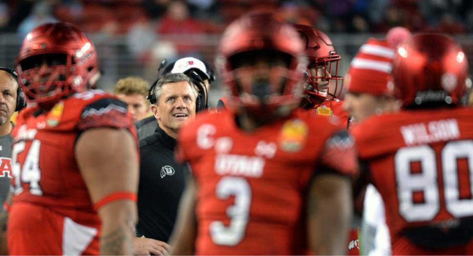 Steve Griffin / The Salt Lake Tribune  Utah Utes head coach Kyle Whittingham looks up to the scoreboard to see if a replay shows if Utah Utes running back Joe Williams (28) fumbled the ball during the Foster Farms Bowl at Levi's Stadium in Santa Clara California  Wednesday December 28, 2016.