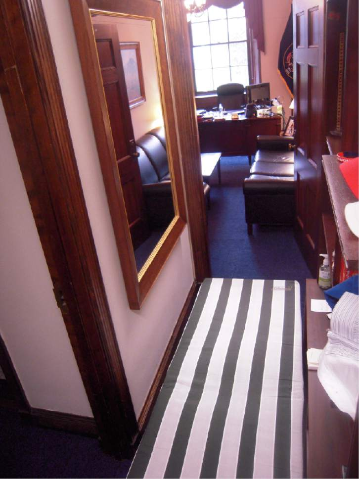 Tribune file photo Rep. Jason Chaffetz slept on this $45 cot in a side hallway in his congressional office while in Washington.