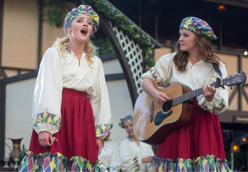 Rick Egan     The Salt Lake Tribune  Nicki Elledge and Samantha Allred perform in the Green Show, at Utah Shakespeare Festival. Thursday, July 9, 2015.
