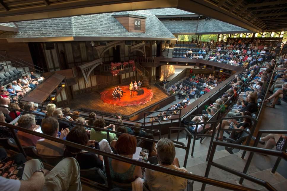 Rick Egan     The Salt Lake Tribune  R. Scott Phillips, executive director of the Utah Shakespeare Festival, says a few words during the dedication of the Engelstad Shakespeare Theatre, Cedar City, Thursday, July 7, 2016.