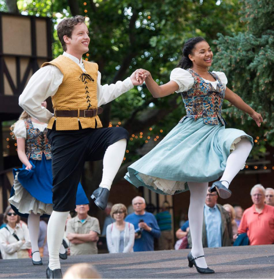Rick Egan     The Salt Lake Tribune  Brandon Beaver and Jade Payton perform in the Green Show actors entertain the crowd, at Utah Shakespeare Festival. Wednesday, July 8, 2015.