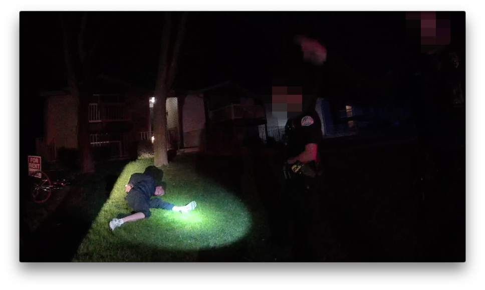 This screen capture from body camera video shows the arrest of Guy Gailey by Ogden police.