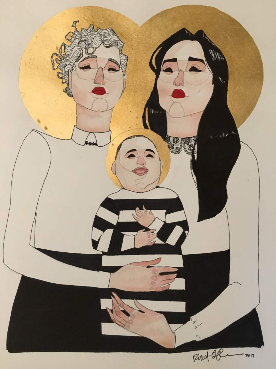 |  Courtesy  A family portrait by Utah artist Rob France of tribune columnist Marina Gomberg, her wife, Elenor, and their son, Harvey.
