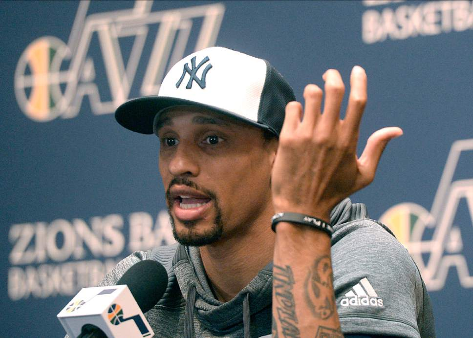 Al Hartmann  |  The Salt Lake Tribune Jazz player George Hill talks about the season in exit interview in front of the sports media in Salt Lake City Tuesday May 9.  The team cleaned out their lockers after their loss to the Golden State Warriors last night.