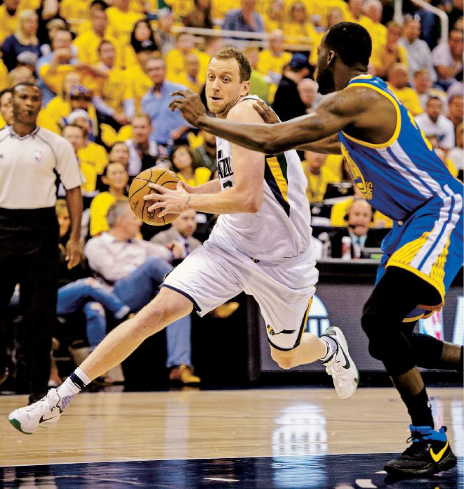 Steve Griffin  |  The Salt Lake Tribune   Utah Jazz forward Joe Ingles (2) drives past Golden State Warriors forward Draymond Green (23) during game 4 of the NBA playoff game between the Utah Jazz and the Golden State Warriors at Vivint Smart Home Arena in Salt Lake City Monday May 8, 2017.