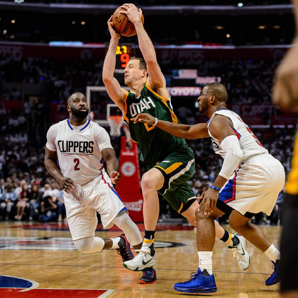 Trent Nelson  |  The Salt Lake Tribune Utah Jazz forward Joe Ingles (2) drives to the basket as the Utah Jazz face the Los Angeles Clippers in Game 7 at STAPLES Center in Los Angeles, California, Sunday April 30, 2017.