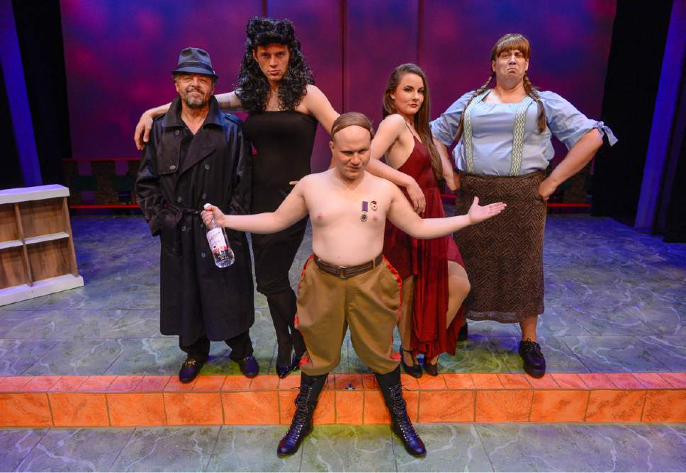 "Francisco Kjolseth | The Salt Lake Tribune Salt Lake Acting Company's new ""Saturday's Voyeur"" show has a spy-versus-spy plot line for 2017, with music inspired by ìMission: Impossibleî and James Bond themes. Pictured from left are Dan Larrinaga, CJ Strong, Eb Madson, Emilie Starr and Justin Ivie."