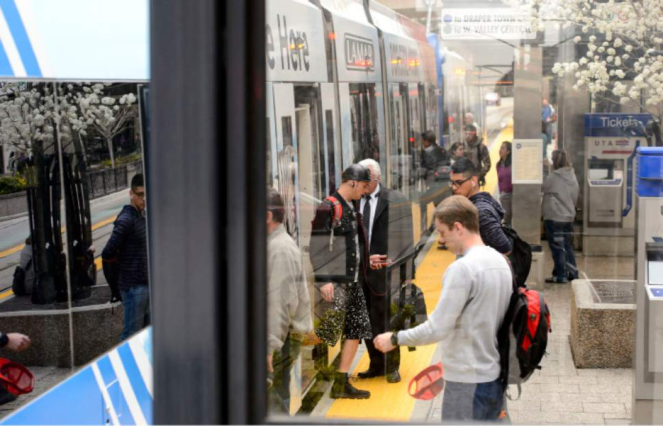 Steve Griffin  |  Tribune file photo  A TRAX train pulls into the City Center TRAX station in Salt Lake City.