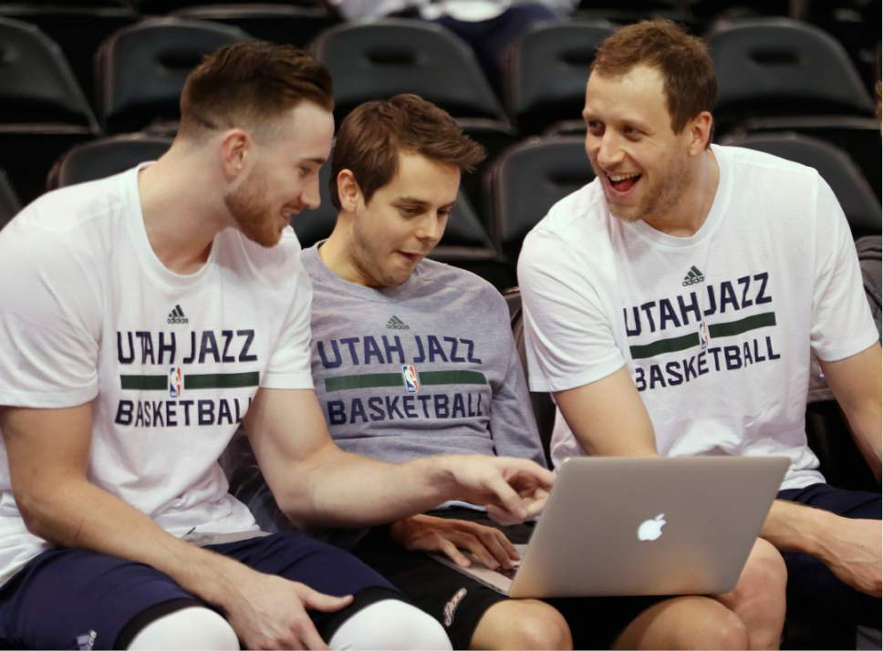 Utah Jazz forward Gordon Hayward, left, guard Raul Neto, center, and forward Joe Ingles, right, laugh and joke around before the team's NBA basketball game game against the Indiana Pacers on Saturday, Jan. 21, 2017, in Salt Lake City. (AP Photo/George Frey)