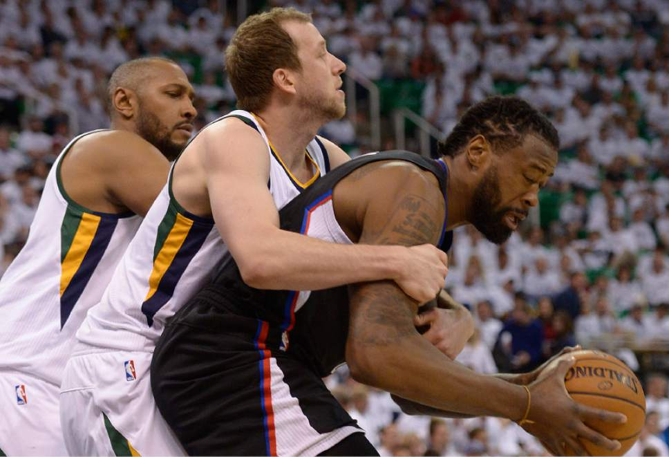 Leah Hogsten  |  The Salt Lake Tribune  Utah Jazz forward Joe Ingles (2) fouls LA Clippers center DeAndre Jordan (6). The Utah Jazz lead the Los Angeles Clippers after the third quarter during Game 3 of their first-round Western Conference playoff series at Vivint Smart Home Arena, Friday, April 21, 2017.