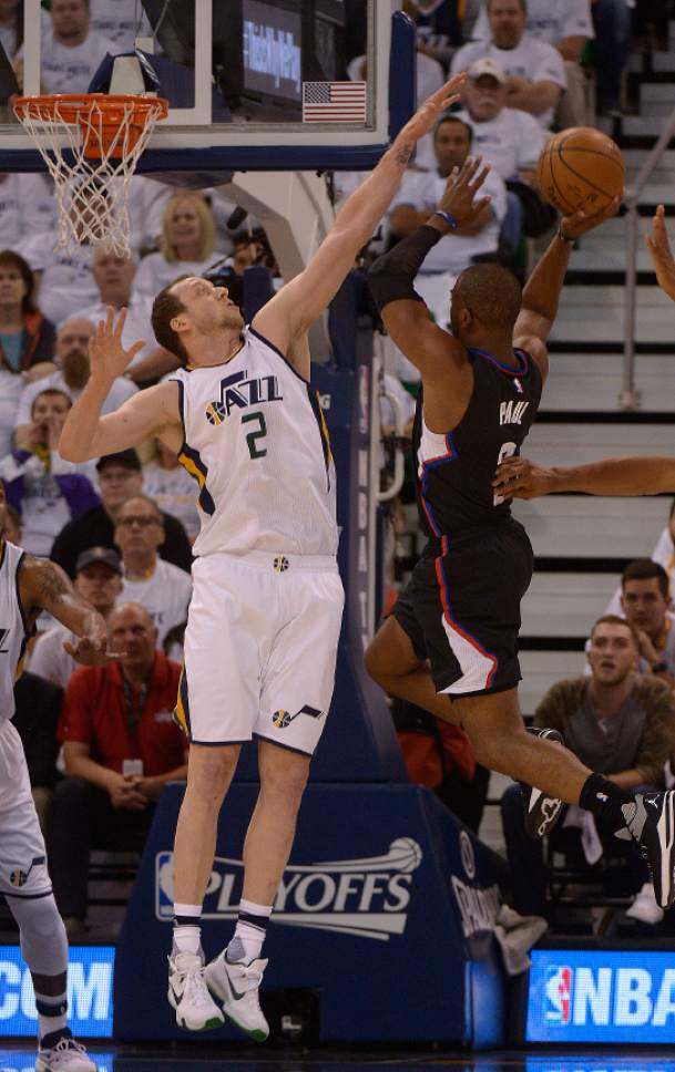 Leah Hogsten  |  The Salt Lake Tribune  Utah Jazz forward Joe Ingles (2) denies LA Clippers guard Chris Paul (3). The Utah Jazz lead the Los Angeles Clippers after the first quarter during Game 3 of their first-round Western Conference playoff series at Vivint Smart Home Arena, Friday, April 21, 2017.