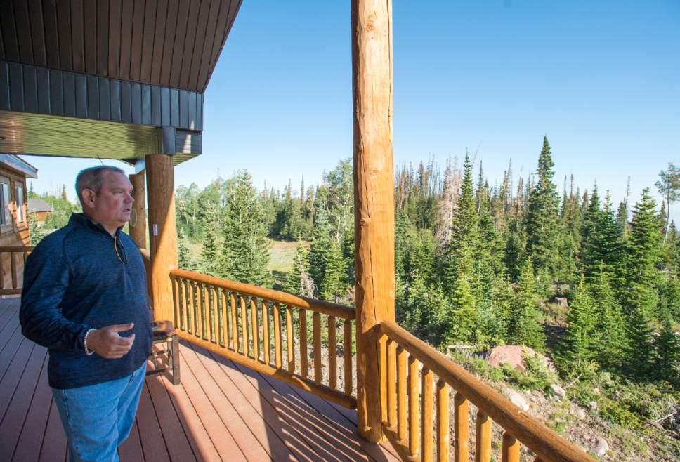 Rick Egan  |  The Salt Lake Tribune  Brad Burdsall, checks out the area surrounding his cabin in the southern Utah ski town of Brian Head, as he was finally able to get back in to town after the evacuation was lifted, Friday, June 30, 2017.