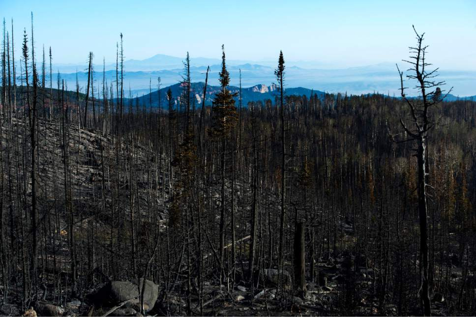 Rick Egan  |  The Salt Lake Tribune   Smoke lingers in the valley where a fire burned thousands of acres of forest north of the southern Utah ski town of Brian Head on Friday, June 30, 2017.