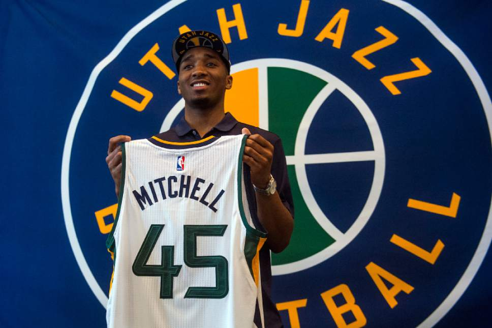 Chris Detrick  |  The Salt Lake Tribune Utah Jazz's Donovan Mitchell poses for photos at The Grand America Hotel Wednesday, June 28, 2017.
