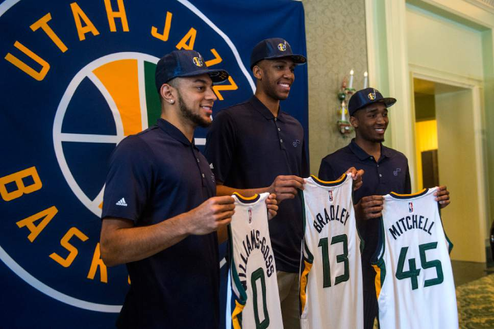 Chris Detrick  |  The Salt Lake Tribune Utah Jazz's Nigel Williams-Goss, Tony Bradley and Donovan Mitchell pose for photos at The Grand America Hotel Wednesday, June 28, 2017.