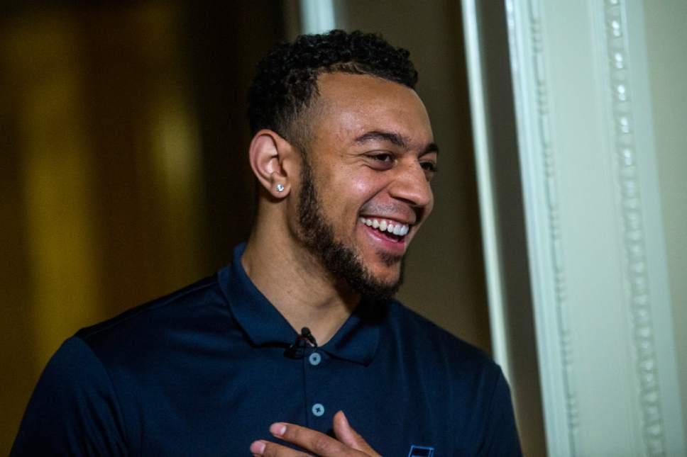 Chris Detrick  |  The Salt Lake Tribune Utah Jazz's Nigel Williams-Goss gives a media interview at The Grand America Hotel Wednesday, June 28, 2017.