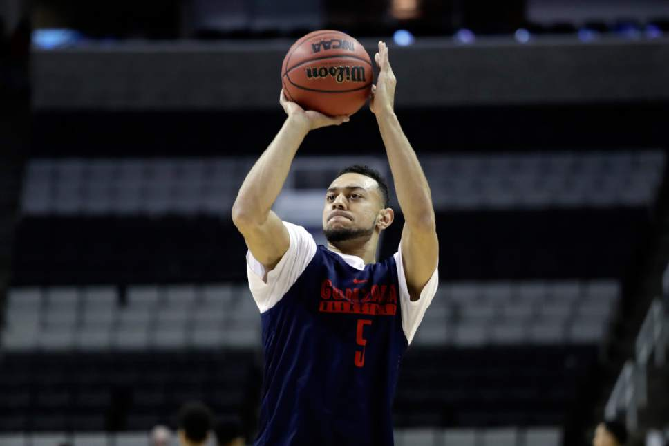 Marcio Jose Sanchez  |  AP Photo   Gonzaga guard Nigel Williams-Goss shoots during practice Wednesday, March 22, 2017, in San Jose, Calif., in preparation for an NCAA Tournament college basketball regional semifinal game. Gonzaga plays West Virginia on Thursday.