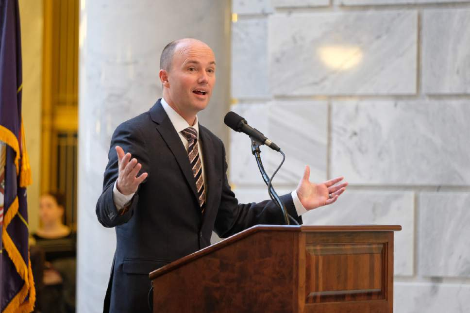 Francisco Kjolseth  |  Tribune file photo Lt. Gov. Spencer Cox announces the expansion of the Utah Aerospace Pathways (UAP) program as he speaks during the Aerospace Day on the Hill, which brought in an industry event featuring hands-on exhibits and demonstrations from more than 20 aerospace companies, industry associations and educational institutions at the Utah Capitol on Wed. Feb. 15, 2017.
