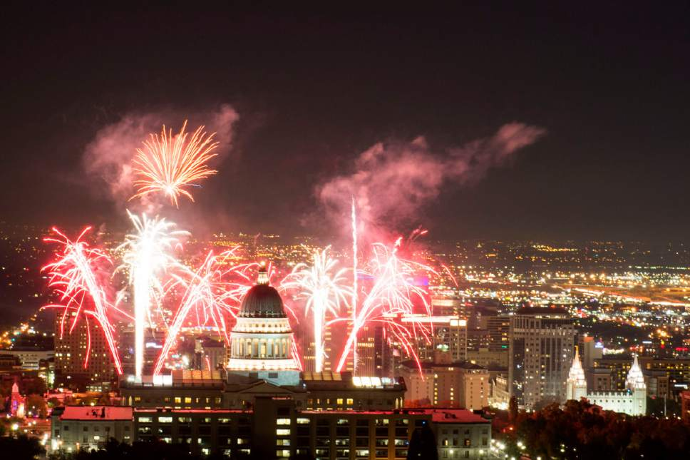 Jeremy Harmon  |  The Salt Lake Tribune  Fireworks explode above the State Capitol during centennial celebrations for the building on Saturday October 8, 2016.