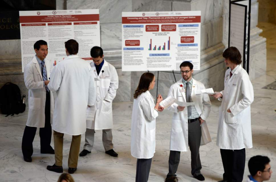 Francisco Kjolseth  |  Tribune file photo University of Utah and Roseman University Pharmacy students gather at the Capitol on Tuesday, Feb. 18, 2014, for Pharmacy Day. Prescription drugs are among the big sales tax exemptions granted by Utah. ,