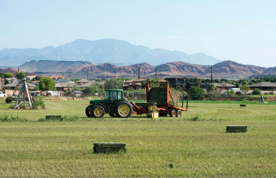 Rick Egan  |   Tribune file photo  Dennis Frei bales hay on one of his fields in Santa Clara, Thursday, August 20, 2015. Hay is exempt from Utah's sales tax.