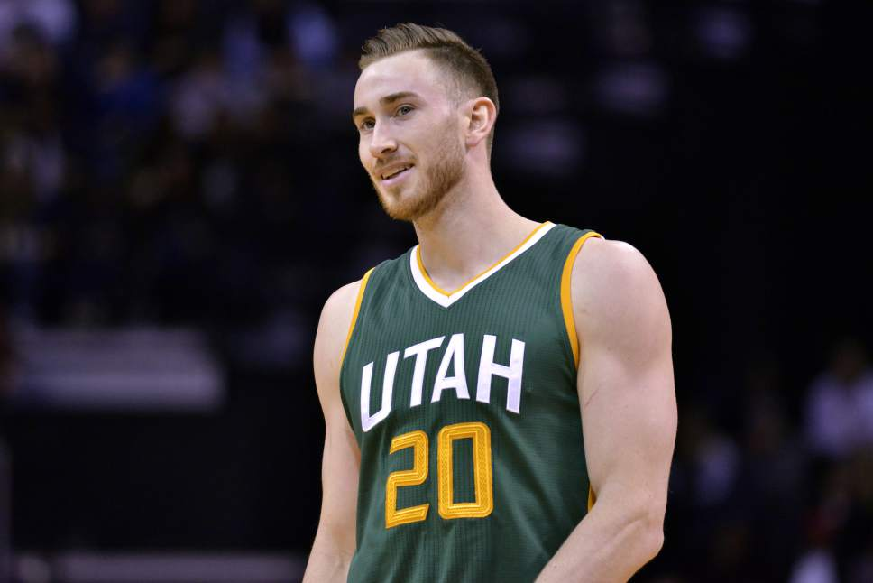 Utah Jazz forward Gordon Hayward (20) stands on the court during a break in play in the first half of an NBA basketball game Sunday, Jan. 8, 2017, in Memphis, Tenn. (AP Photo/Brandon Dill)