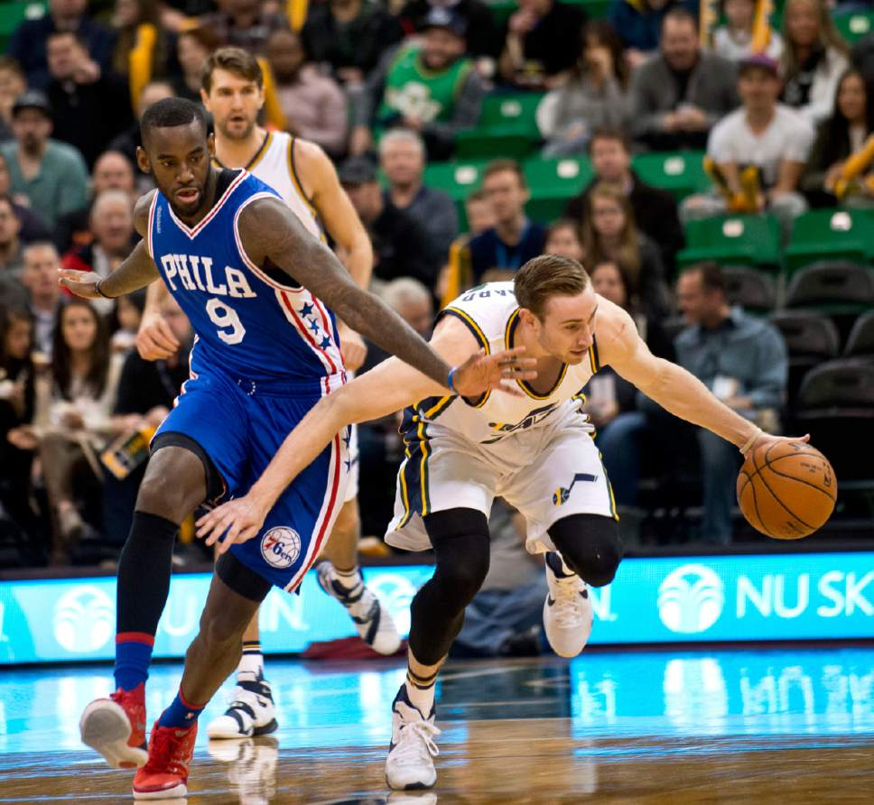 Lennie Mahler  |  The Salt Lake Tribune  Jazz guard Gordon Hayward steals the ball from JaKarr Sampson in the first half of a game against the Philadelphia 76ers at Vivint Smart Home Arena, Monday, Dec. 28, 2015.