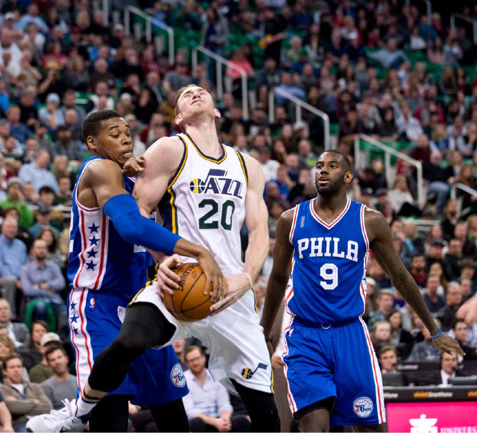 Lennie Mahler  |  The Salt Lake Tribune  Gordon Hayward draws a foul from Richaun Holmes in the first half of a game against the Philadelphia 76ers at Vivint Smart Home Arena, Monday, Dec. 28, 2015.
