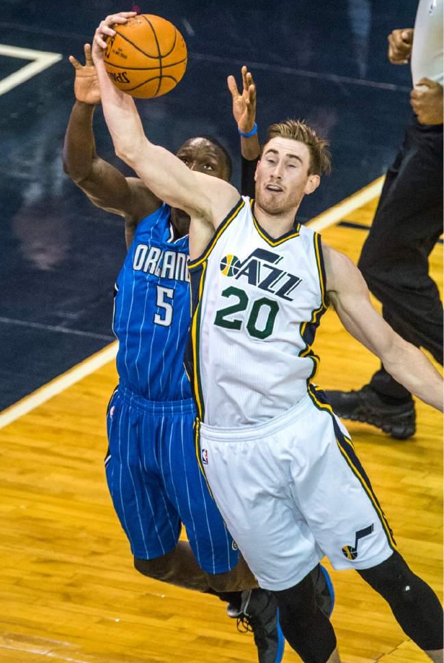 Chris Detrick  |  The Salt Lake Tribune Utah Jazz forward Gordon Hayward (20) steals the ball from Orlando Magic guard Victor Oladipo (5) during the game at Vivint Smart Home Arena Thursday December 3, 2015.