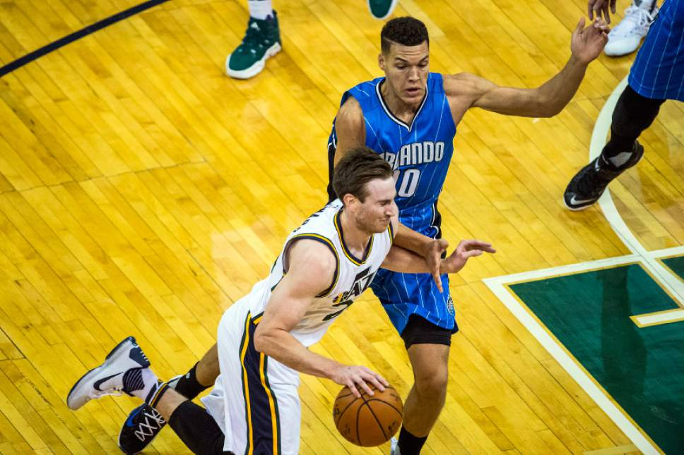 Chris Detrick  |  The Salt Lake Tribune Utah Jazz forward Gordon Hayward (20) runs around Orlando Magic forward Evan Fournier (10) during the game at Vivint Smart Home Arena Thursday December 3, 2015.