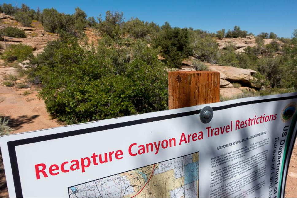 Trent Nelson     The Salt Lake Tribune The Bureau of Land Management is finally releasing an environmental review of San Juan County's application for a right-of-way through Recapture Canyon, inhabited by Anasazi more than 800 years ago. The BLM had closed the canyon, east of Blanding, to motorized use in 2007 after discovering an illegally constructed trail had damaged some of its archaeological sites. Thursday September 8, 2016.
