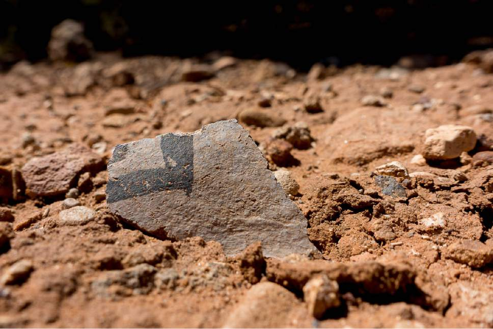 Trent Nelson     The Salt Lake Tribune A pottery shard sits on a trail in Recapture Canyon. The Bureau of Land Management is proposing to lease Racapture Canyon,  east of Blanding, for oil and gas development, along with other culturally important spots in Utah's San Juan County.