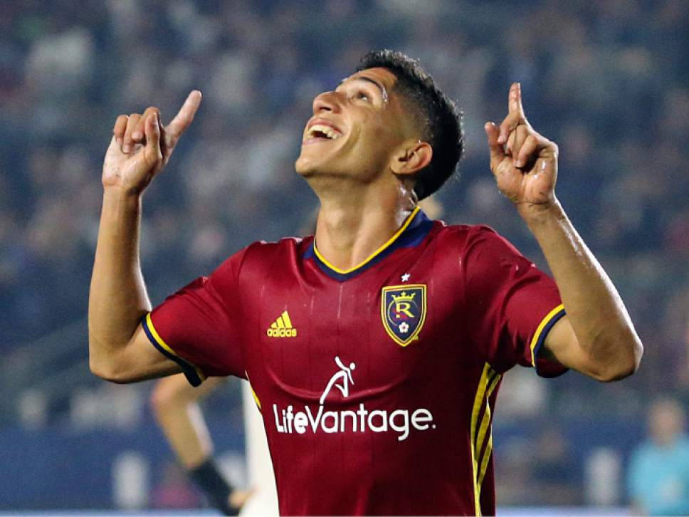 Real Salt Lake forward Jefferson Savarino celebrates after one of his two goals against the LA Galaxy in the second half of an MLS soccer match in Carson, Calif., Tuesday, July 4, 2017. Real Salt Lake won, 6-2. (AP Photo/Reed Saxon)