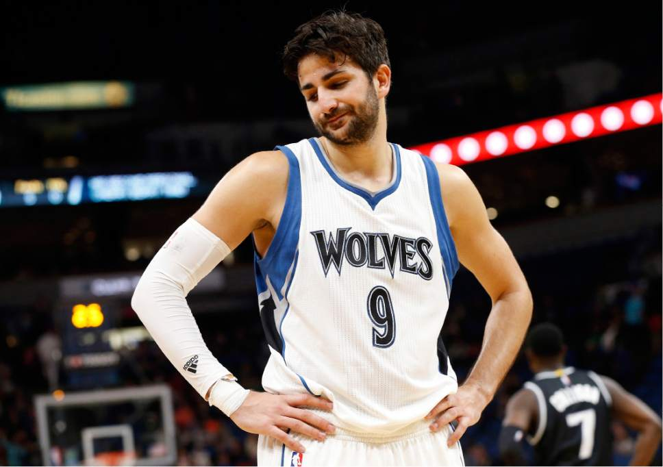 FILE - In this April 1, 2017, file photo, Minnesota Timberwolves' Ricky Rubio reacts in the closing seconds as the Timberwolves lost to the Sacramento Kings 123-117 in an NBA basketball game in Minneapolis. After six years in Minnesota, Ricky Rubio is saying goodbye. The seemingly endless rumors finally came to fruition when he was traded to the Utah Jazz last week. (AP Photo/Jim Mone, File)