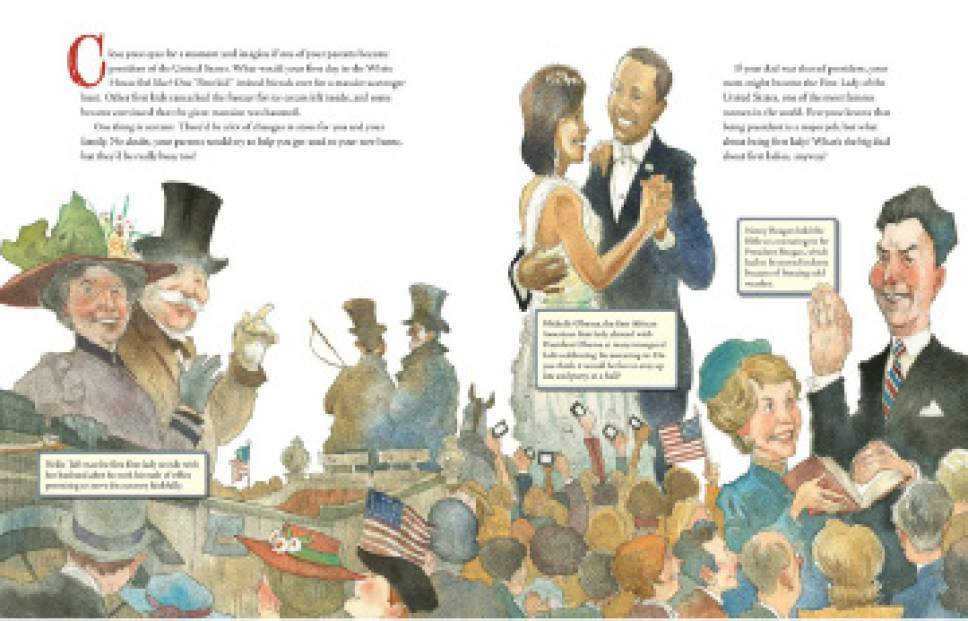 A scene from ìWhatís the Big Deal About First Ladiesî by Ruby Shamir, with illustrations by Matt Faulkner. Courtesy of Penguin Young Readers