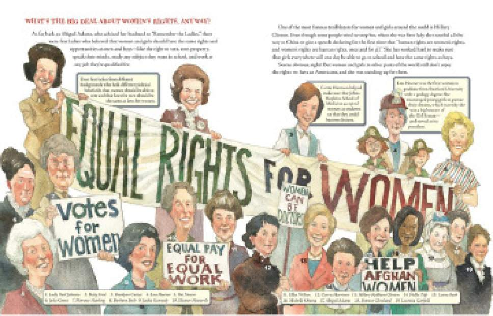 """A scene from """"What's the Big Deal About First Ladies"""" by Ruby Shamir, with illustrations by Matt Faulkner. Courtesy of Penguin Young Readers"""