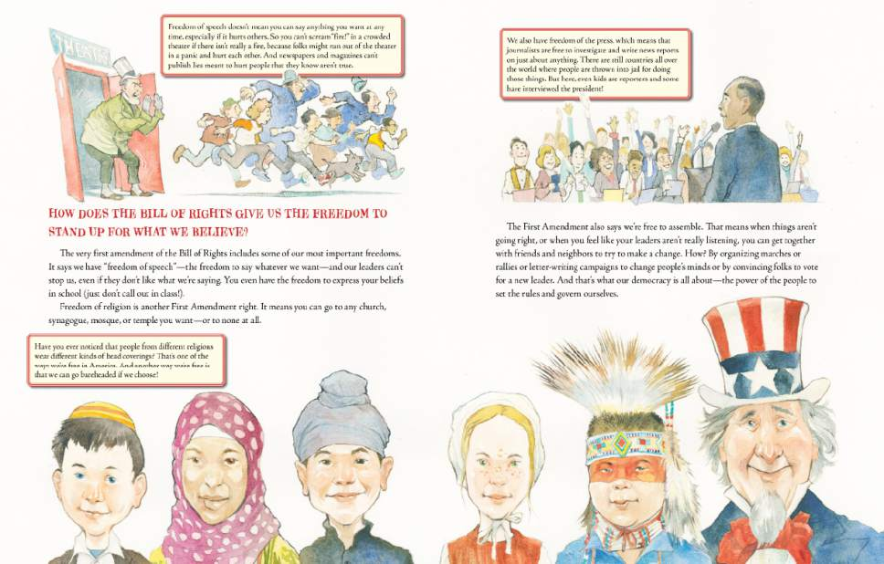 """A scene from """"What's the Big Deal About Freedom"""" by Ruby Shamir, illustrations by Matt Faulkner.  Courtesy of Penguin Young Readers"""