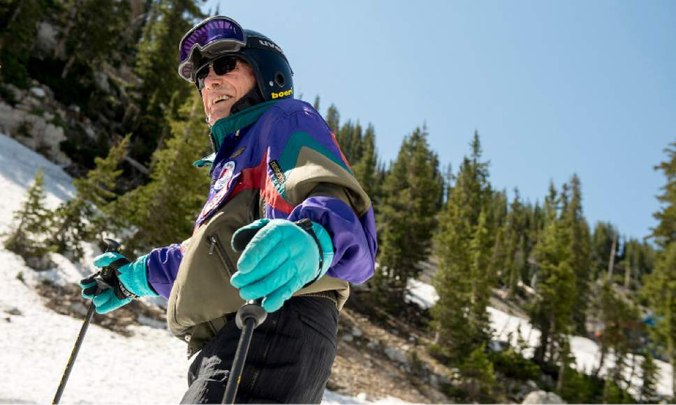 Leah Hogsten  |  The Salt Lake Tribune Skier George Jedenoff celebrated his 100 birthday with a couple of ski runs down Chipís Run from the top of the Peruvian Lift at Snowbird on July 5, 2017.