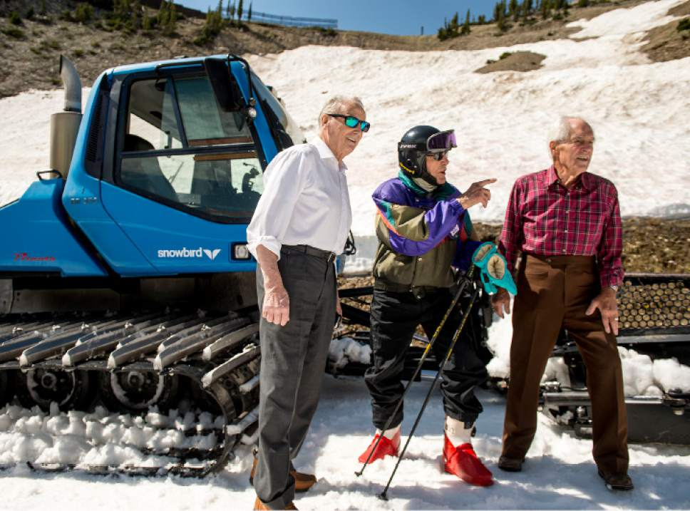 Leah Hogsten  |  The Salt Lake Tribune George Jedenoff (center) talked with his skiing buddies Nick Looser, 82, left, and Bob Murdoch, 93, right, who ski with Jedenoff at Alta in the winter. Skier George Jedenoff celebrated his 100th birthday with a couple of ski runs down Chip's Run from the top of the Peruvian Lift at Snowbird on July 5, 2017.