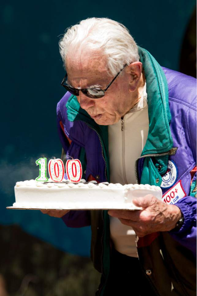 Leah Hogsten  |  The Salt Lake Tribune George Jedenoff was presented with a birthday cake, 100+ yr. old skier patch and a handmade wooden plaque celebrating his achievement. Jedenoff celebrated his 100th birthday with a couple of ski runs down Chip's Run from the top of the Peruvian Lift at Snowbird on July 5, 2017.