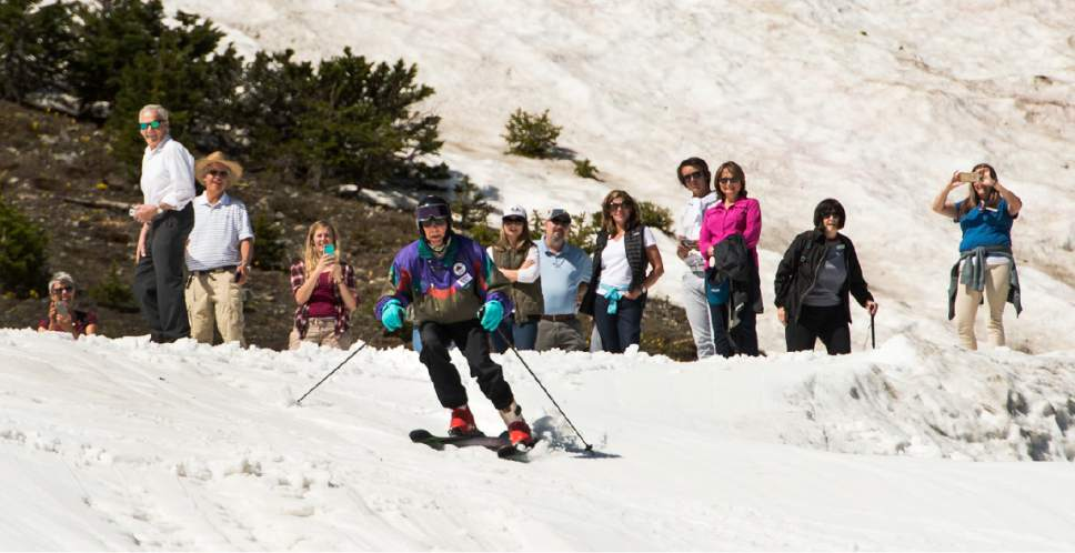 Leah Hogsten  |  The Salt Lake Tribune celebrated his 100th birthday with a couple of ski runs down Chip's Run from the top of the Peruvian Lift at Snowbird on July 5, 2017.
