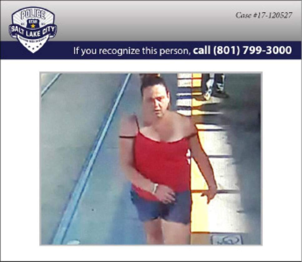 Salt Lake City police are seeking this woman, Shutney Lee Kyzer, 37, in a fatal autoped incident outside the Road Home homeless shelter. (SLCPD photo)