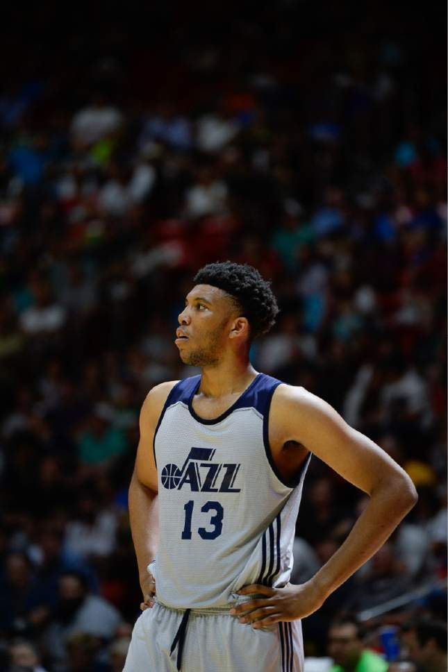 Francisco Kjolseth | The Salt Lake Tribune Tony Bradley of the Utah Jazz takes to the court against the Boston Celtics during the NBA Summer league basketball game at the Huntsman Center, July 6, 2017, in Salt Lake City.