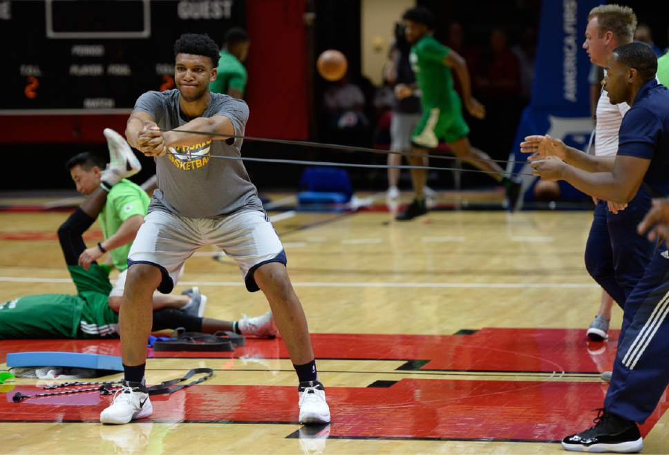 Francisco Kjolseth | The Salt Lake Tribune Tony Bradley of the Utah Jazz warms up before a game against the Boston Celtics during the NBA Summer league basketball game at the Huntsman Center, July 6, 2017, in Salt Lake City.