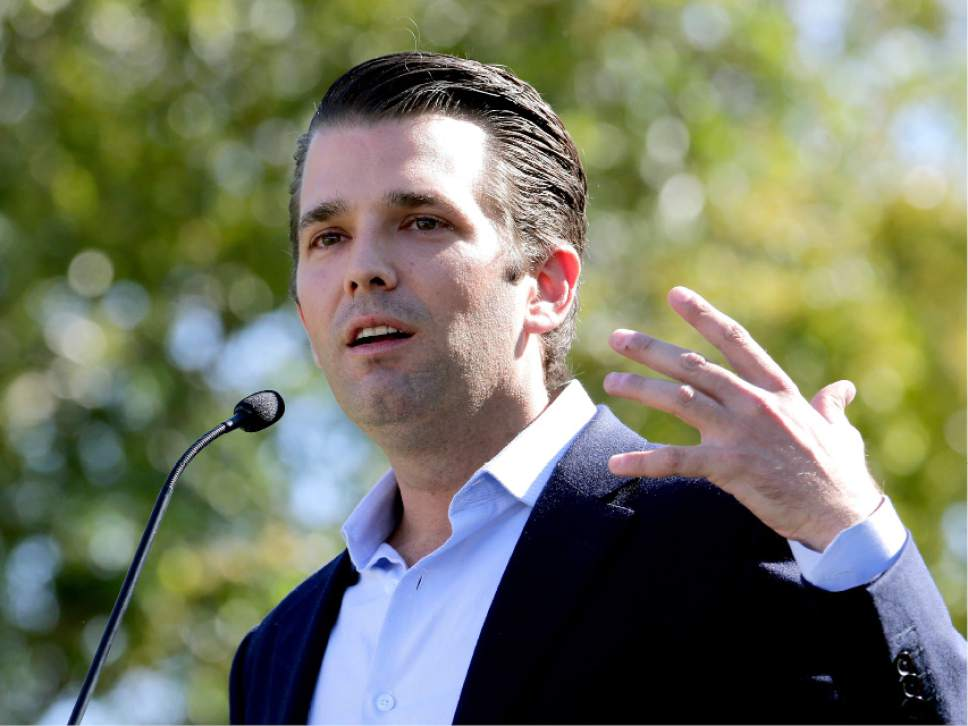 FILE - In this Friday, Nov. 4, 2016 file photo, Donald Trump Jr. campaigns for his father Republican presidential candidate Donald Trump in Gilbert, Ariz.  Donald Trump's eldest son, son-in-law and then-campaign chairman met with a Russian lawyer shortly after Trump won the Republican nomination, in what appears to be the earliest known private meeting between key aides to the president and a Russian. Representatives of Donald Trump Jr. and Jared Kushner confirmed the June 2016 meeting to The Associated Press after The New York Times reported Saturday, July 8, 2017 on the gathering of the men and Russian lawyer Natalia Veselnitskaya at Trump Tower. (AP Photo/Matt York, File)